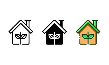 Greenhouse icon. With outline, glyph, and filled outline styles