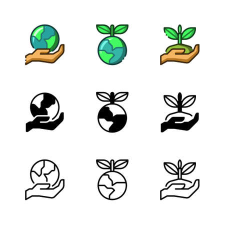 Environmental care icon. With outline, glyph, and filled outline styles Ilustração