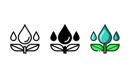 Water and plant icon. With outline, glyph, and filled outline styles