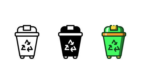 Recycle bin icon. With outline, glyph, and filled outline styles
