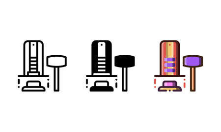 Hammer game icon. With outline, glyph, and filled outline styles
