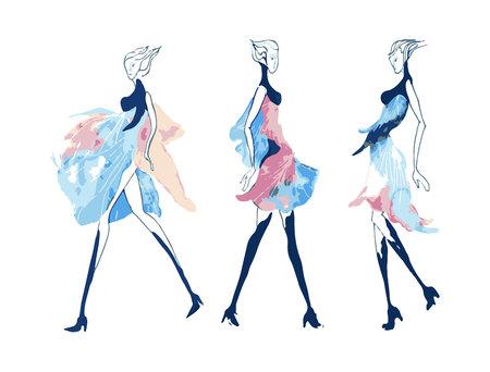 fashion illustration girl abstract dress