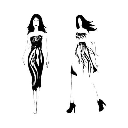 catwalk: fashion illustration girl catwalk