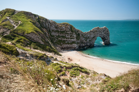 durdle: The South West Coastal Path, Dorset. Durdle Door. Part of The Jurassic Coastline of England.