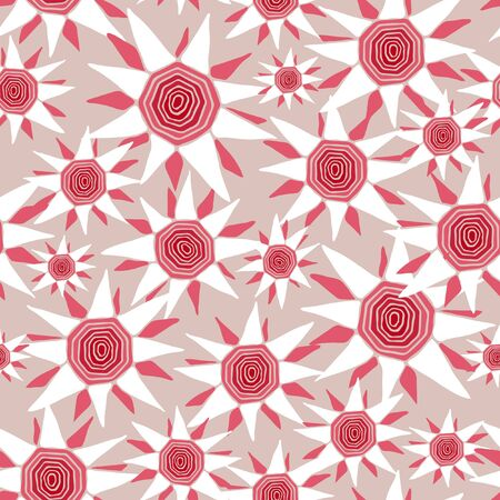 Seamless vector pattern with abstract flower on light purple. Repeat floral wallpaper design with pink. Stock Illustratie