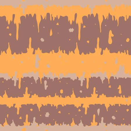 Seamless vector pattern fabric texture with light orange and brown colours. Melting paint modern background. Abstract trendy wallpaper design.