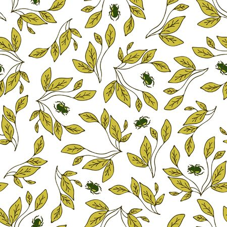 Seamless vector pattern with leaves and beetles on white background. Simple wallpaper design with leaf and bugs.