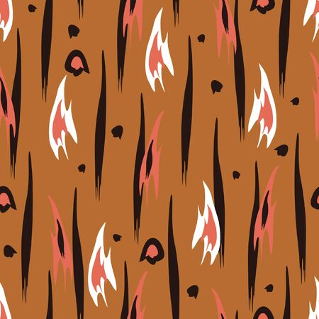 Seamless vector pattern with abstract animal fur texture on beige background. Simple effective safari wallpaper design. Ideal for fabric, textile fashion. Illustration