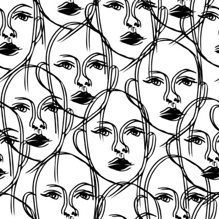 Seamless vector pattern with outlined women on white background. Fashion wallpaper design, girl with black lips.