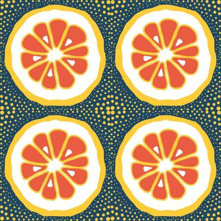 Vector pattern with lemon, citrus slice on blue background. Orange, mandarin with yellow dots pop art.