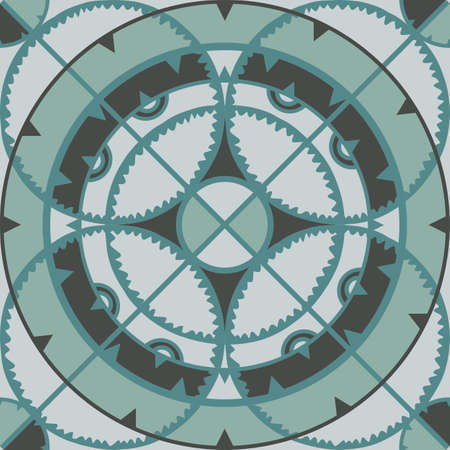 Seamless vector pattern mosaic circles. Blue texture with discs. Abstract background.