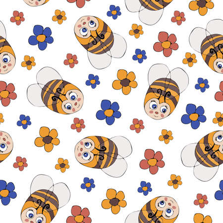 Seamless vector pattern with cute childlike bumblebees and flowers on white background. Simple cartoon bee wallpaper design.