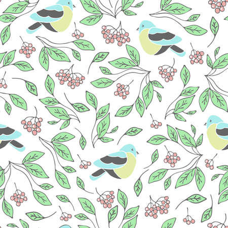 Seamless vector pattern with birds, berries and leaves on white background. Gentle romantic wallpaper design.