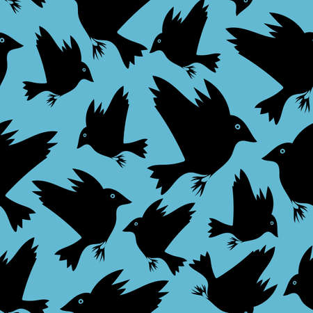 Seamless vector pattern with flying black birds on bright blue background. Animal wallpaper design with crow silhouettes.