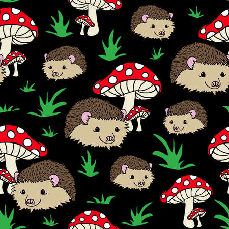Seamless vector pattern with hedgehogs and mushrooms on black background. Perfect for kids apparel, fabric, textile, nursery decoration, wrapping paper. Cute animal wallpaper design.