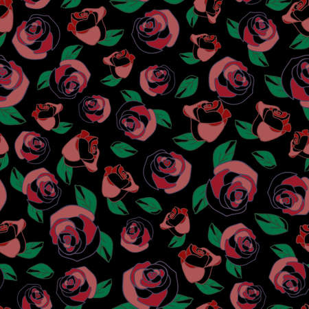 Seamless vector pattern with roses on black background. Simple floral wallpaper design.