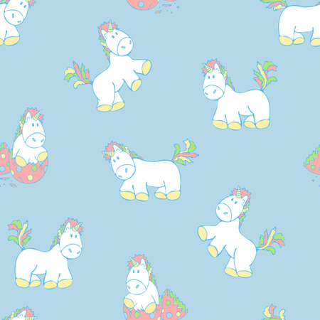 Seamless vector pattern with unicorns on light blue background. Cartoon pony with rainbow manes and tails. Fantasy wallpaper design for children. 向量圖像