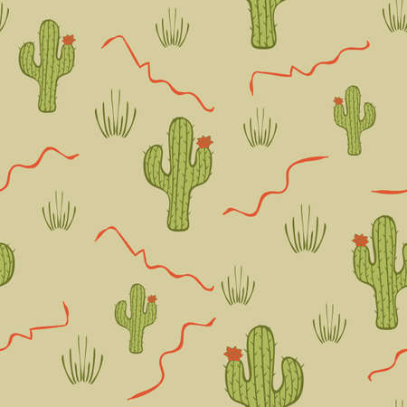 Seamless vector pattern with cactus on stone grey background. Simple cartoon desert plant wallpaper design. 向量圖像