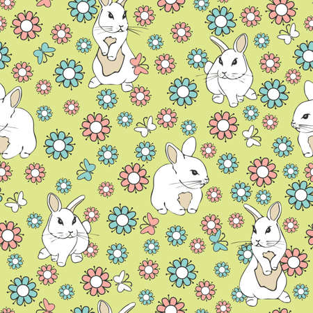 Seamless vector pattern with white bunnies and flowers on green background. Pink and blue flower animal wallpaper design.