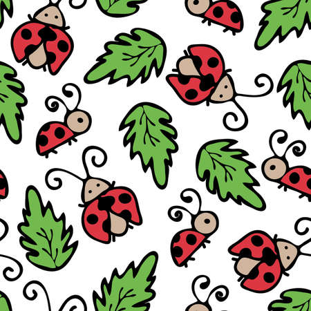 Seamless vector pattern with ladybirds and leaves on white background. Simple wallpaper design with hand drown childish ladybugs. Kids fabric, textile, fashion. Ilustracja