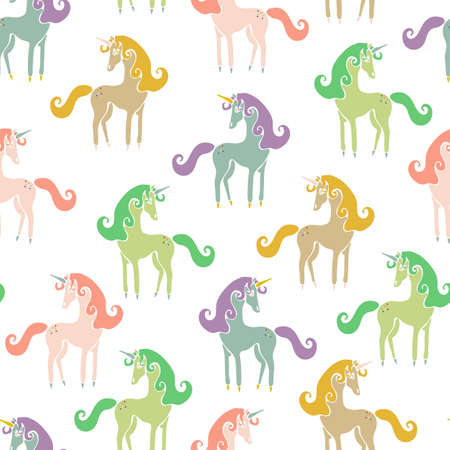Seamless vector pattern with colorful unicorns on white background. Simple fantasy wallpaper design for children.