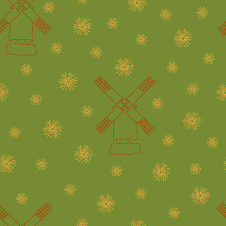 Seamless vector pattern with windmill on green background. Outlined hand drawn design. Simple country house wallpaper.