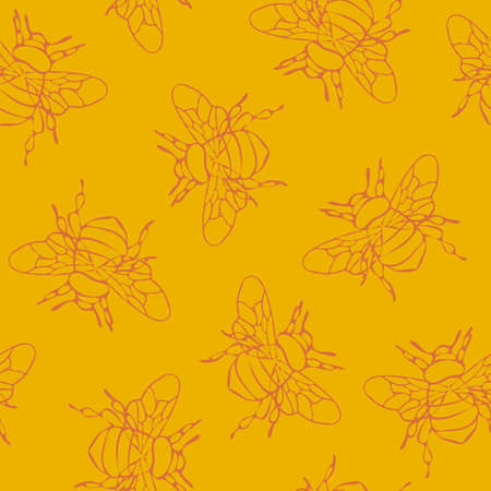 Seamless vector pattern with outlined bumblebees on yellow background. Simple honeybee wallpaper design. Ideal for fabric, textile, fashion. Ilustrace