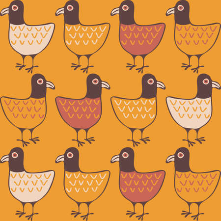 Seamless vector pattern with hand drawn birds on mustard yellow background. Vintage wallpaper design with chickens. Retro fashion fabric style.