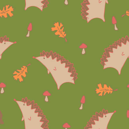 Seamless vector Autumn Pattern with Leaves and Hedgehog on green background. Animal wallpaper design.