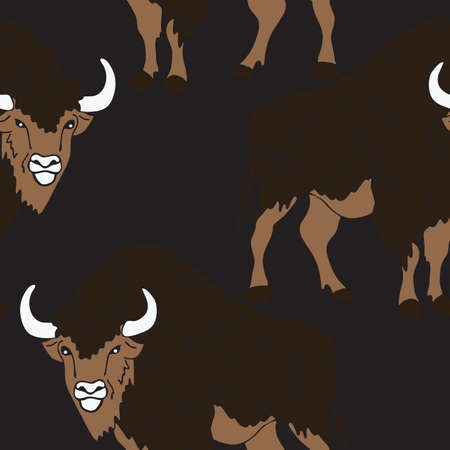 Seamless vector pattern with buffaloes on dark brawn background. Animal bison wallpaper design. Powerful angry Taurus repeat art. Illustration