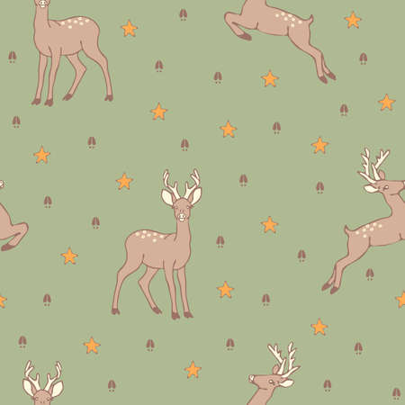 Seamless vector pattern with deer and star. Animal footprint wallpaper design on light green. Ilustracja