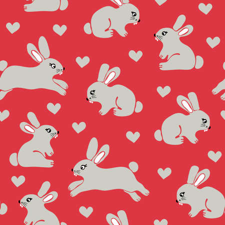 Seamless vector pattern with cute bunnies on pink background. Simple animal wallpaper design with rabbits and love harts.