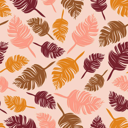 Seamless vector pattern with feathers on pink background.