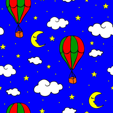 Seamless vector pattern with air balloons and clouds on blue background.