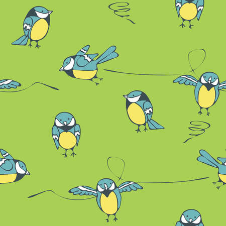 Seamless vector pattern with titmouse on green background. Cartoon funny birds wallpaper design for children.