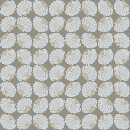 Seamless vector pattern with clams. Underwater wallpaper design. Simple grey background.