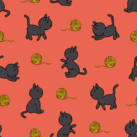 Seamless vector pattern with kittens and yarn ball on pink background. Cute animal wallpaper design with cats. Childlike fashion textile.