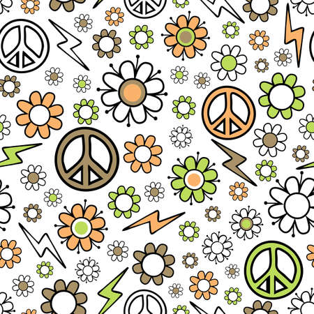 Seamless vector pattern with peace symbol and flowers on white background. Floral pastel repeat design for textile, fashion. Vintage, retro wallpaper print. Vettoriali