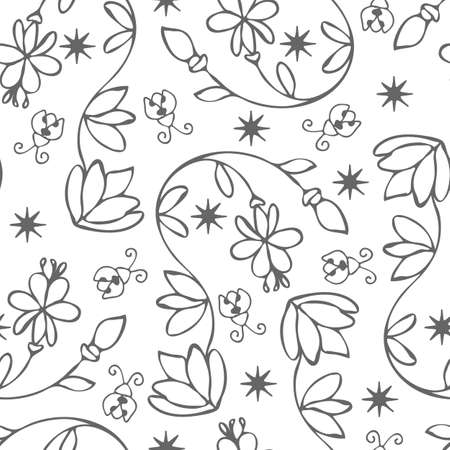 Seamless vector pattern with calming plant and ladybirds on white background. Simple outlined floral wallpaper design. Modern home fashion textile.
