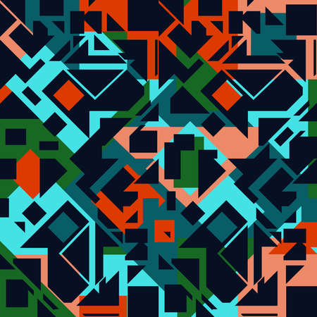 Seamless vector pattern textile texture with blue colours. Fashion artistic wallpaper design with geometrical pieces.