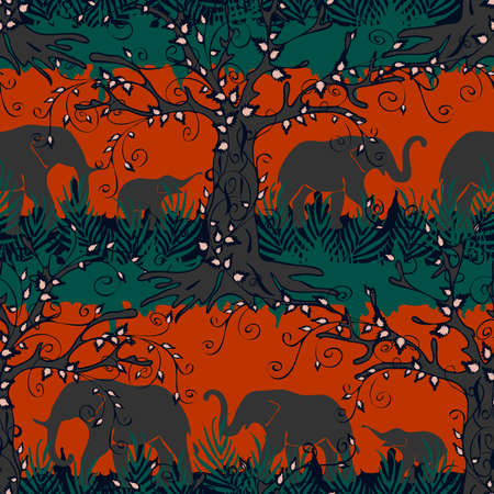 Seamless vector pattern with elephant silhouettes on orange red background. African animal landscape wallpaper design. Tropical forest fashion textile.