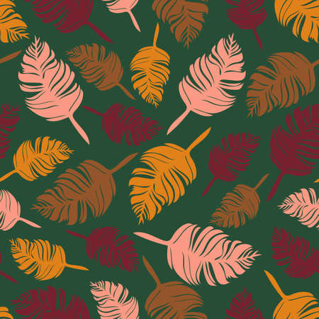 Seamless vector pattern with autumn leaves on green background. Beautiful colourful feathers wallpaper design. Abstract nature fashion textile.