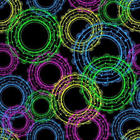 Seamless vector pattern with colourful discs on black background. Abstract wallpaper design with lace like circles.