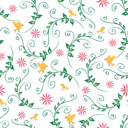 Seamless vector pattern with yellow birds and flowers on white background. Romantic wallpaper design with leaves. Swirl nature fashion textile. Illustration