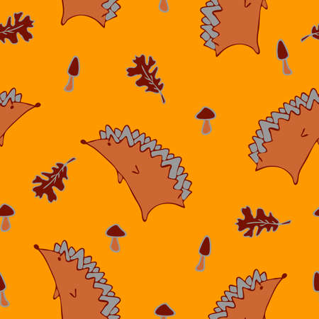 Seamless vector pattern with hedgehogs and leaves on yellow background. Autumn  forest animal wallpaper design with mushrooms. Bright seasonal fashion textile.  イラスト・ベクター素材