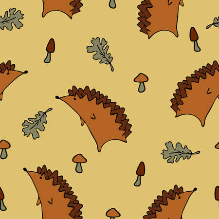 Seamless vector autumn pattern with leaves and hedgehog on light brown background. Cute cartoon style wallpaper design.