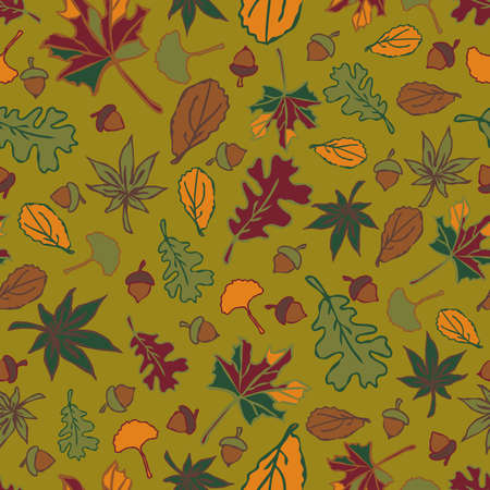Seamless vector pattern with autumn leaves and acorns on green background. Fall wallpaper design. Seasonal fashion textile. Illustration