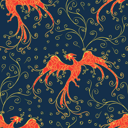 Seamless vector pattern with phoenix on blue background. Majestic fire bird wallpaper design with curved lines. Mythical creature fashion textile.