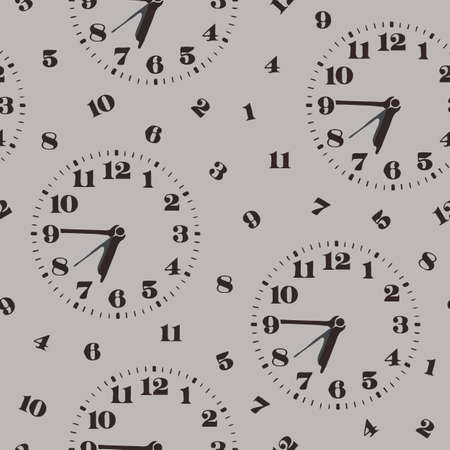 Seamless vector pattern with clocks and numbers on grey background. Simple abstract wallpaper design for time keeping. Vector Illustratie