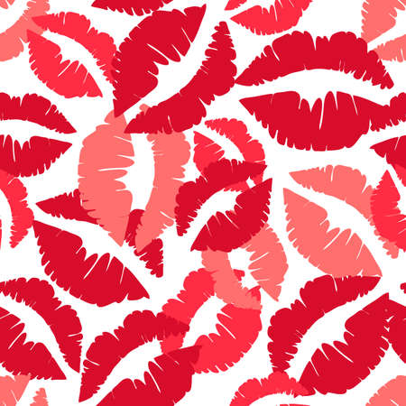 Seamless vector pattern with red kiss mark on white background. Cute simple wallpaper design for valentines day. Ideal for beauty, fashion, wrapping.